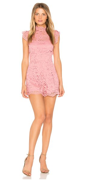 "BB Dakota Priscilla Romper in rose - ""Poly blend. Dry clean only. Allover crochet lace..."