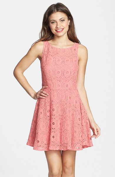 BB Dakota renley lace fit & flare dress in pink shell - Rich lace balances the flirty cut of a flouncy...
