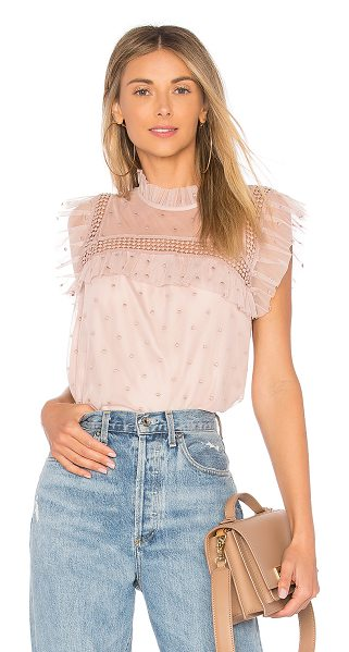 "BB Dakota Roslyn Top in pink - ""Self & Lining: 100% polyTrim: 100% cotton. Hand wash..."