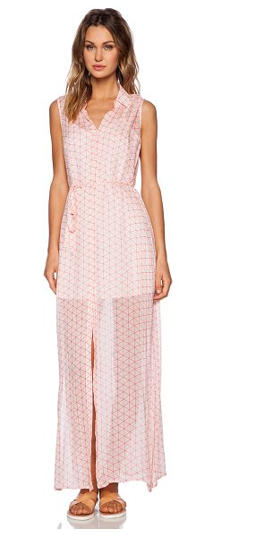 BB Dakota Samira maxi shirtdress in pink - Poly blend. Partially lined. Button front closure. Waist...