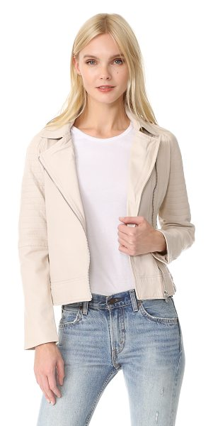 BB Dakota stafford washed leather jacket in bone - Quilting accentuates the classic moto look of this...