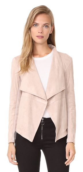 BB Dakota wade faux suede jacket in parchment - Fabric: Faux suede Ribbed-knit insets Open placket...
