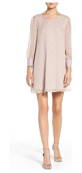 BB Dakota warren metallic chiffon shift dress in champagne - Metallic embroidered dots shimmer throughout the airy...