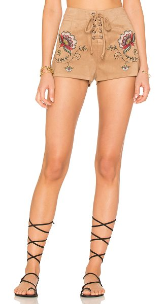 "BB Dakota X REVOLVE Brittain Short in brown - ""Poly blend. Hand wash cold. Lace-up front with tie..."