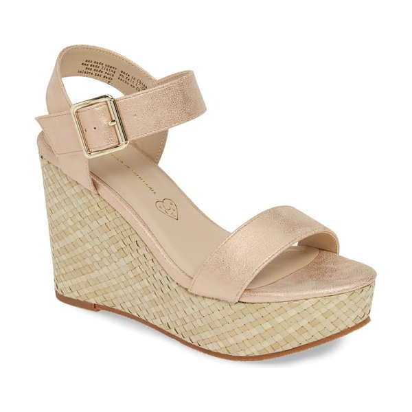 BC Footwear peonies vegan wedge sandal in metallic - A basket-weave wedge amplifies the vintage...