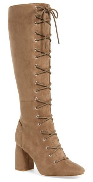 BCBG addison boot - Slim laces cinch a soaring tall boot fashioned from...