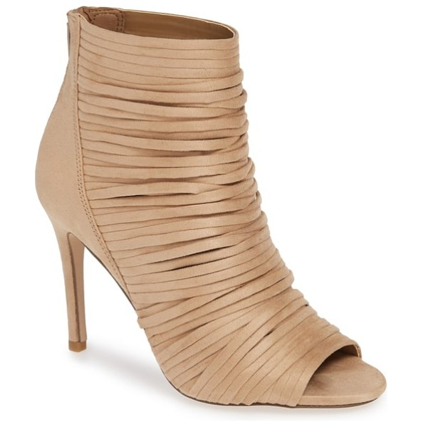 BCBG elle open toe bootie in beige - Layered straps create eye-catching texture and dimension...