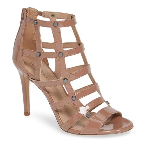 BCBG jenna studded cage sandal in beige - Tiered studs anchor the perpendicular intersections of a...