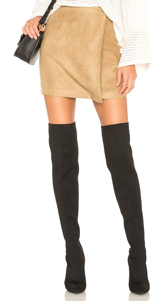 "BCBGeneration A Line Faux Suede Skirt in tan - ""100% poly. Unlined. Button accent. Hidden back zipper..."