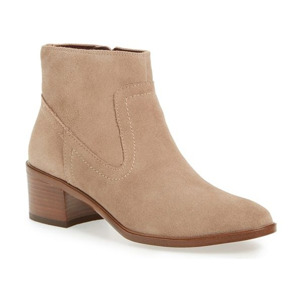 BCBGeneration 'allegro' block heel bootie in smoke taupe suede - A stacked block heel adds just-right height to a suede...