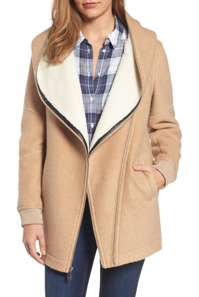 BCBGENERATION asymmetrical hooded wool blend coat - Softly brushed woolen fabric paired with a plush faux...
