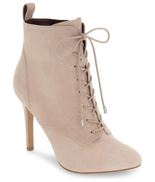 BCBGeneration banx lace-up bootie in pumice suede - A tall stiletto heel takes vintage Victorian style to...