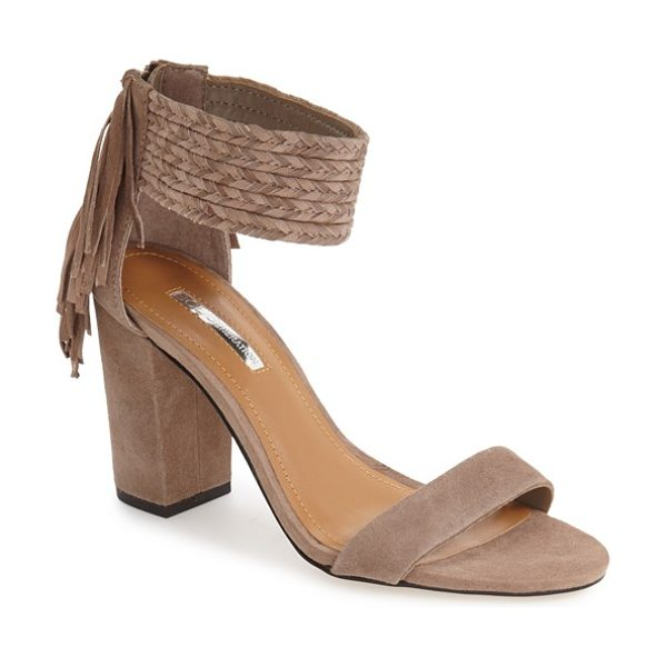 BCBGeneration 'calizi' sandal in smoke taupe suede - A chunky braided ankle strap and cascading fringe...