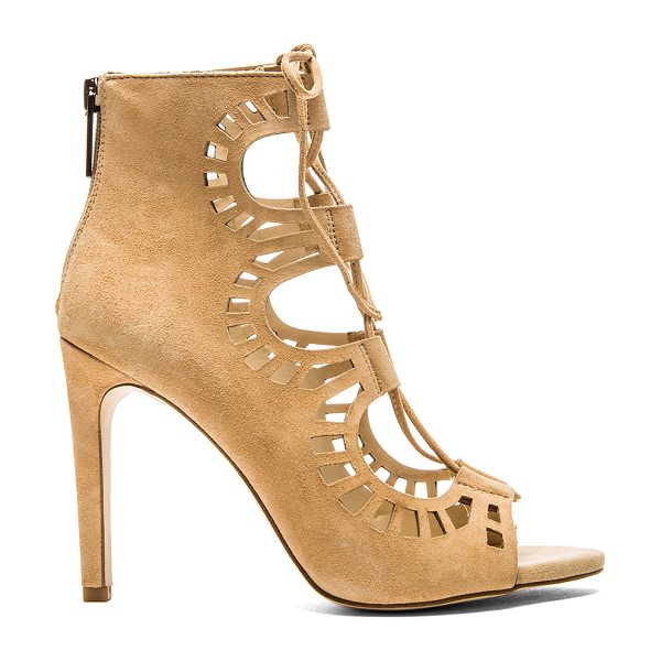 """BCBGeneration Carnival bootie in beige - Suede upper with man made sole. Heel measures approx 4""""""""..."""