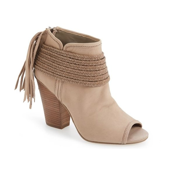 BCBGeneration 'cinder' block heel bootie in smoke taupe leather - Braided straps and trailing fringe amplify the rustic...