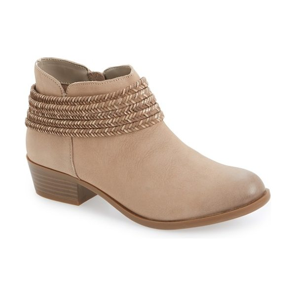 BCBGENERATION 'clayton' block heel bootie in smoke taupe leather - Braided straps and a low, stacked heel add rugged...