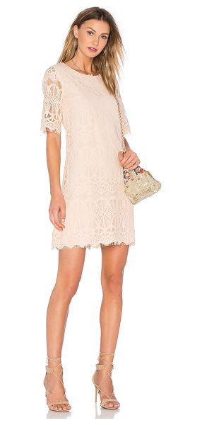 BCBGeneration Cocktail Lace Dress in peach - 73% cotton 27% nylon. Dry clean only. Fully lined. Back...