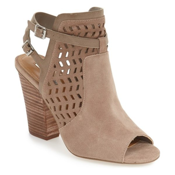 BCBGeneration 'creen' peep toe bootie in smoke taupe leather - Geometric cutouts and strappy slingback styling refresh...
