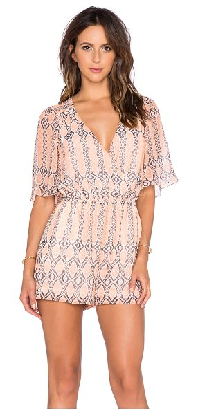 BCBGeneration Crossover romper in coral - Self & Lining: 100% poly. Surplice neckline with snap...