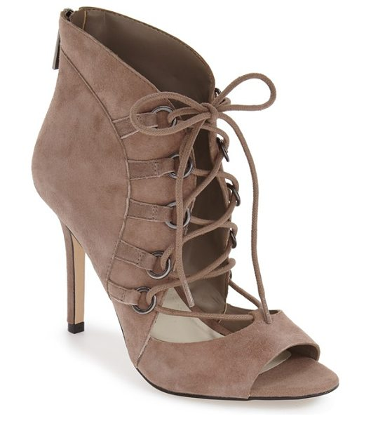 BCBGeneration 'deirdra' lace up sandal in smoke taupe suede