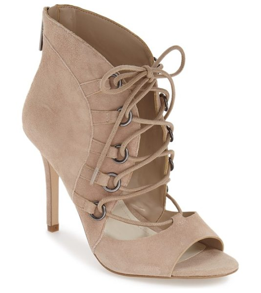 BCBGeneration 'deirdra' lace up sandal in sand suede - Corset-inspired lacing and a flirty open toe give an...