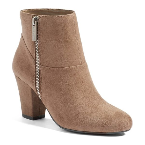 BCBGeneration 'devvin' ankle bootie in taupe fabric - Clean, uncomplicated lines and interesting seaming look...