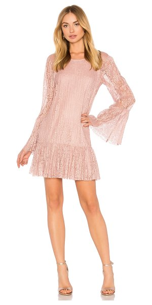 BCBGENERATION Double Tiered Dress In Rose Smoke - Self & Lining: 100% poly. Fully lined. Pleated lace...