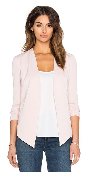 BCBGeneration Drape Front Jacket in blush - Self: 94% poly 6% spandexLining: 100% poly. Open front....