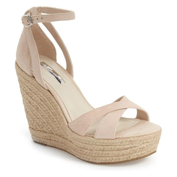 BCBGeneration holly sandal in nude blush suede - A woven wrapped platform and heel enhance the...