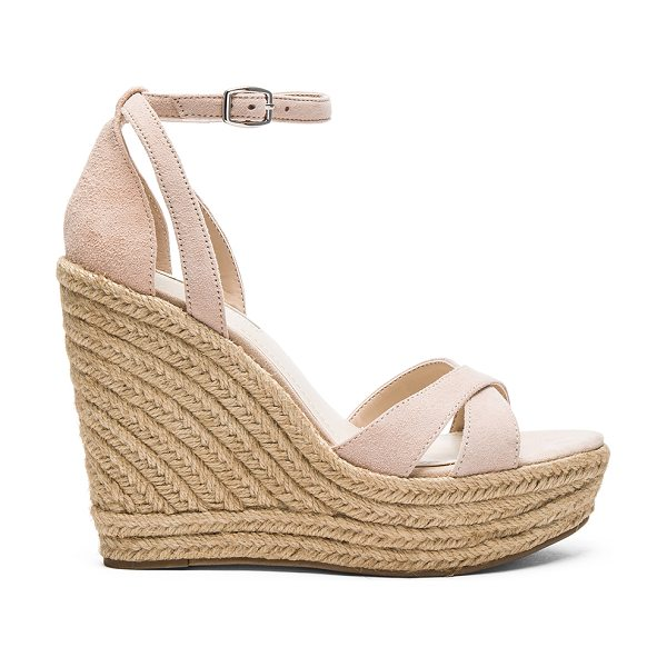 BCBGeneration Holly Wedge in blush - Suede upper with man made sole. Ankle strap with buckle...