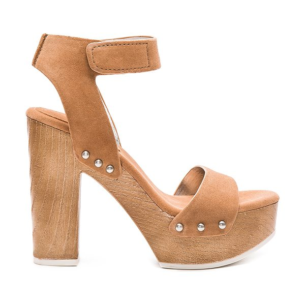BCBGeneration Kyra heel in tan - Suede upper with rubber sole. Ankle strap with velcro...