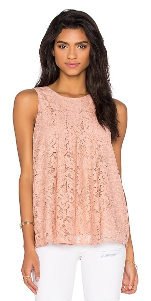 BCBGeneration Lace Flare Tank in blush - 60% nylon 40% cotton. Back keyhole with hook and eye...