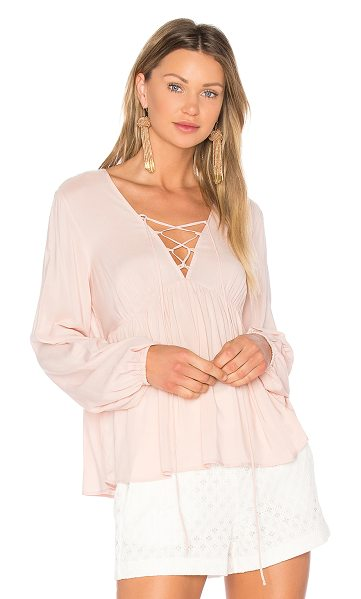 BCBGeneration Lace Up Blouse in rose smoke - 100% rayon. Front lace-up tie closure. BGEN-WS387....