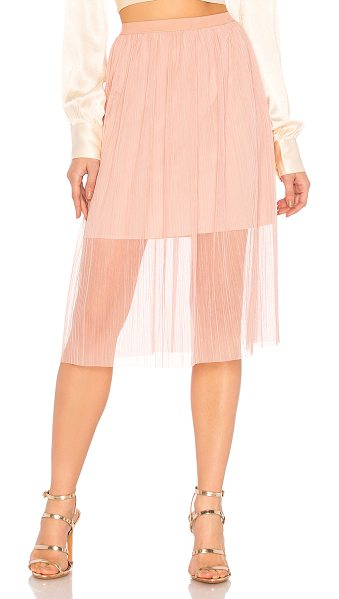 "BCBGeneration Midi Skirt With Elastic In Rose Smoke in pink - ""Self & Lining: 100% poly. Hand wash cold. Fully lined...."