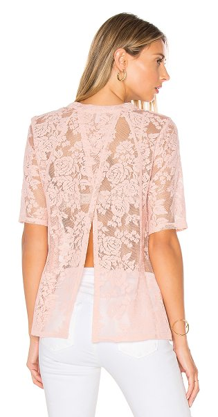 BCBGeneration Open Back Tee in blush - 100% poly. Semi-sheer lace fabric. Split back....