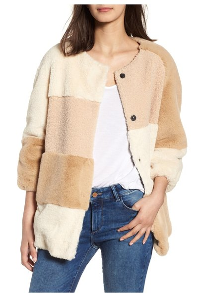 BCBGeneration patchwork faux fur jacket in beige - A luxurious patchwork of textures and tones comes...