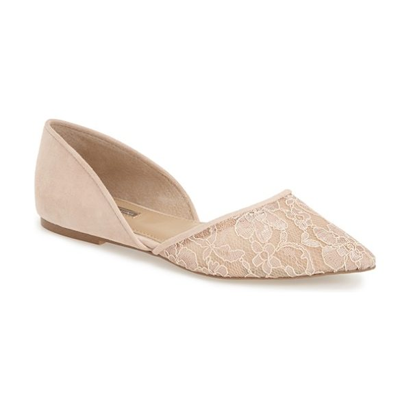 BCBGeneration peggie pointy toe flat in nude blush leather - A breezy d'Orsay cut adds to the elegance of a pointy...