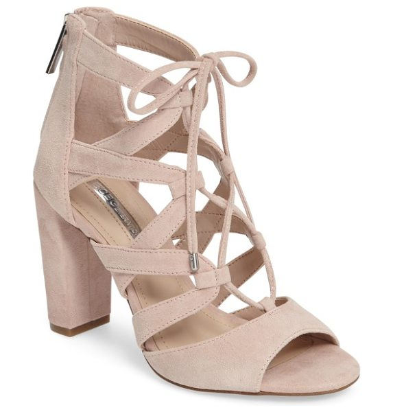 BCBGeneration rameena cage sandal in bare pink suede - A lofty block-heel sandal is topped with curved suede...