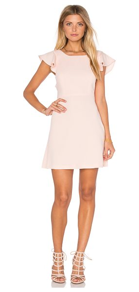BCBGeneration Ruffle Open Back Dress in peach - 100% poly. Partially lined. Hidden side zipper closure....