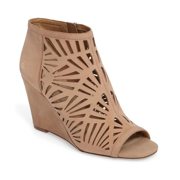 BCBGeneration speranza peep toe wedge bootie in latte nubuck leather - Geometric cutouts intensify the modern allure of a...