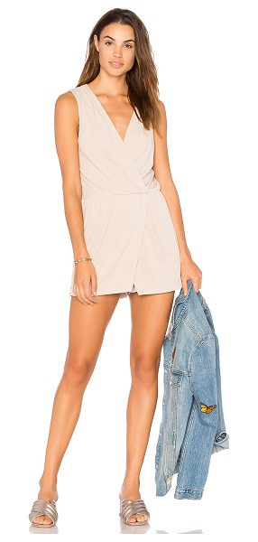 "BCBGeneration Surplice Skort Romper in beige - ""95% poly 5% spandex. Surplice neckline with snap button..."