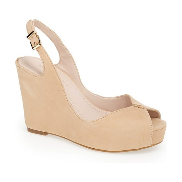 BCBGeneration tashaa sandal in warm sand - Smooth leather wraps the wedge of a cohesively cool...