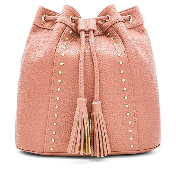 BCBGeneration Tassel Backpack in rose - Faux leather exterior with poly fabric lining. Fringed...