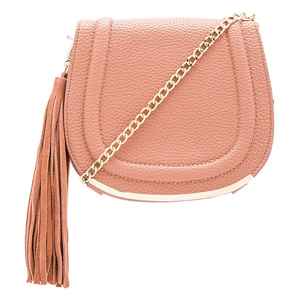 BCBGeneration Tassel saddle bag in rose - Faux leather exterior with poly fabric lining. Flap top...