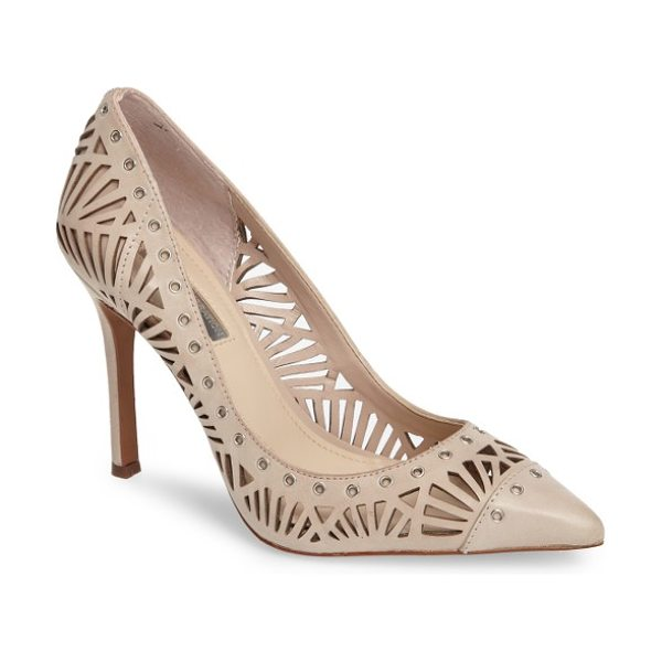 BCBGeneration tomasa perforated pump in bare pink leather - Intricate geometric perforations define this capped...