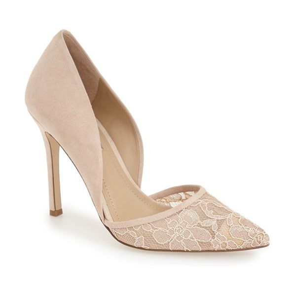 BCBGeneration tori dorsay pump in nude blush leather - Sheer floral lace at the pointed toe adds to the romance...