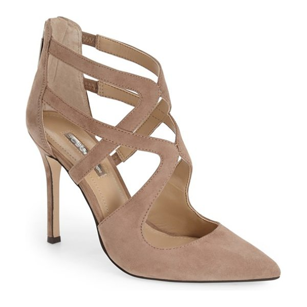 BCBGeneration torpido cage pump in taupe - Striking cage straps add a fierce, fashion-forward...