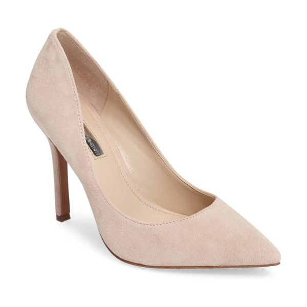 BCBGeneration treasure pointy toe pump in bare pink suede - A curvy, low topline and leg-lengthening pointy toe add...