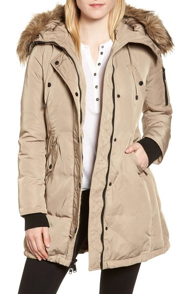 BCBGENERATION waterproof snorkel parka with faux fur trim in beige - A removable faux fur ruff trims the hood of a...