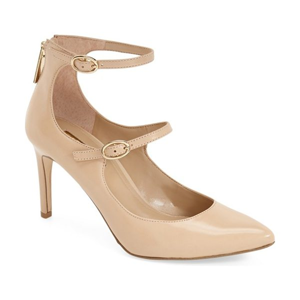 BCBGeneration 'zaluca' sandal in warm sand leather - Gleaming goldtone hardware adds to the elegance of a...